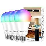 Lepro Bombilla WiFi E27, Bombilla Inteligente RGBW 9W (Equivalente a 60W), Bombilla LED WiFi RGB y Luz Blanca Regulable 806LM, Multicolor, Compatible con Alexa, Echo, Google Home, 4pcs(Solo 2,4 GHz)