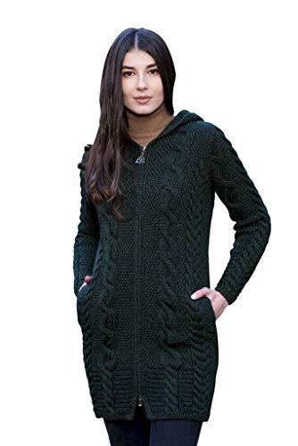 100% Irish Merino Wool Aran Cable Knit Hooded Zip Cardigan (Army Green, XXL)