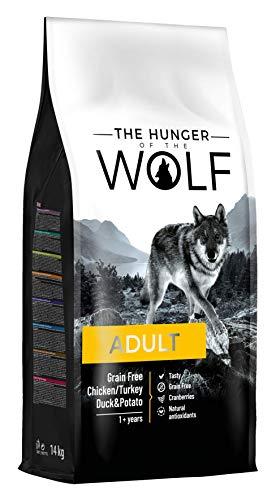 The Hunger of the Wolf Trockenes Hundefutter für erwachsene Hunde, ohne Getreide mit Huhn, Pute, Ente und Kartoffeln, alle Rassen, delikate Formel, 14 kg
