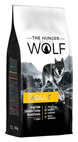 The Hunger of the Wolf Dry Dog Food for Adult Dogs, Grain-Free with Chicken, Turkey, Duck and Potatoes, All Breeds, Delicate Formula, 14 kg