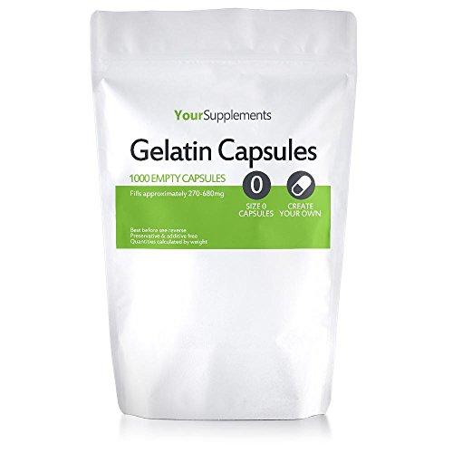 """Your Supplements - Cápsulas de gelatina, Vacías, Tamaño \""""0\"""", 1000 piezas"""