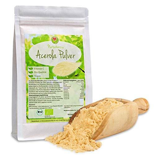Naturherz Bio Acerola Pulver - Natürliches Acerola Fruchtpulver mit min. 17% Vitamin C (250 g)
