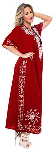 LA LEELA Mujeres caftán Rayón túnica 3D HD Impreso Kimono Libre tamaño Largo Abaya Vestido Jalabiyas de Fiesta para Loungewear Ropa de Dormir Playa Todos los días Cubrir Vestidos Blood Rojo_L363