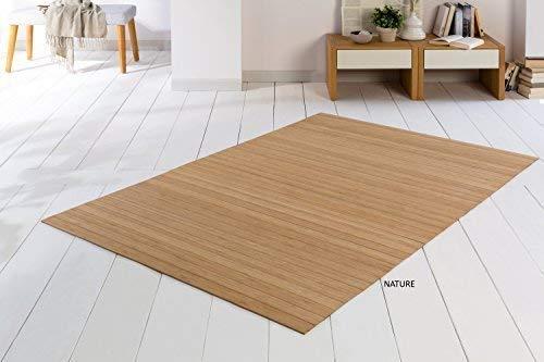 DE-COmmerce Bambusteppich SOLID Nature 140x200 cm extra breite 50mm Stege I die Neue Generation Bambusteppich I kein Bordürenteppich I Teppich I Wohnzimmer I Küche I Made IN Germany