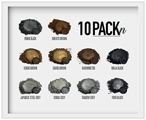 Eye Candy Mica Powder - Black Brown Grey Pigment 10-Pack Set N -...