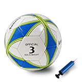 Aoneky Balón de Fútbol para Niños - Talla 5 Diámetro 21,5 cm, Balón de Fútbol Estándar con Bomba de Aguja, Entrenamiento de Fútbol para Partido Competencia, Juguete Infantil Deportes al Aire Libre
