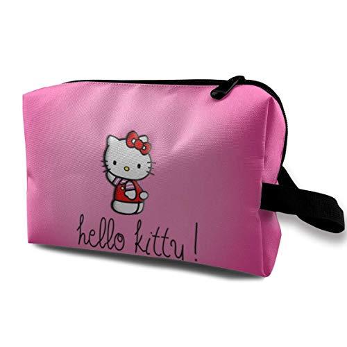 Hdadwy Cartoon Anime Cute Hello Cat Ropa roja Bolsa de Maquillaje de Viaje con muñequera Bolsas de cosméticos Bolsa de Aseo portátil con Cremallera para niñas Mujeres