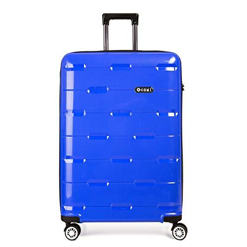 Set valigie da viaggio in Polipropilene - Trolley Rigidi e Leggeri con 4 Ruote - 55x40x22 Bagaglio a Mano/Bagaglio medio/Bagaglio grande da stiva (Blu, L (75cm-91L))