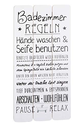 Spetebo Holz Bild mit Badezimmer Regeln weiß - 60x30 cm - Wand Deko Planken Schild Wandbild Bad