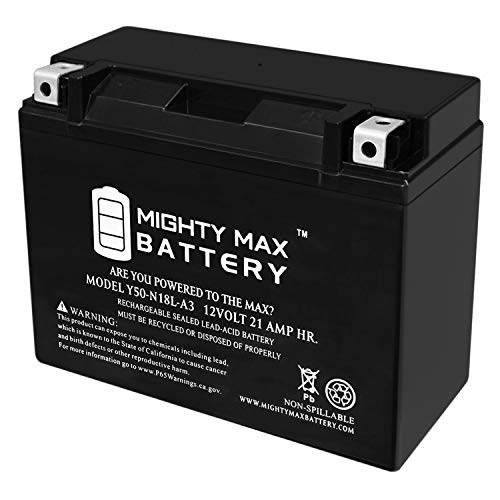 Y50-N18L-A3-12V 21AH 350 CCA - SLA Power Sport Battery - Mighty Max Battery Brand Product, Model: 3498186