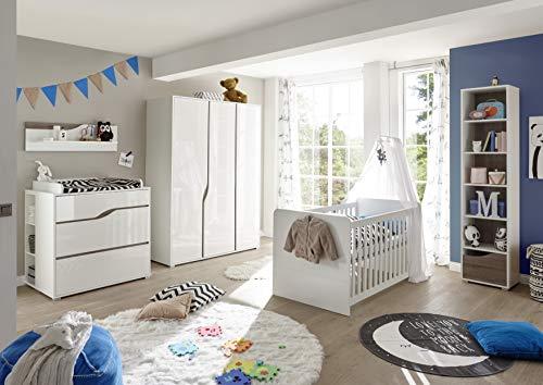 Babyzimmer Mara in Weiß und Eiche Trüffel 8 teiliges Megaset mit Schrank, Bett mit Lattenrost und Umbauseiten, Wickelkommode und Regalen