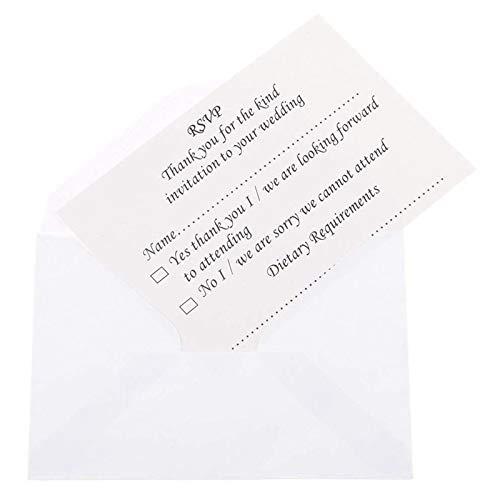 Cikuso 50pcs Hochzeit Bankett RSVP Antwortkarte mit Umschlag