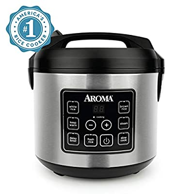Aroma Housewares Professional Plus Digital Rice Cooker, Food Steamer, Slow Cooker, Stainless Pot
