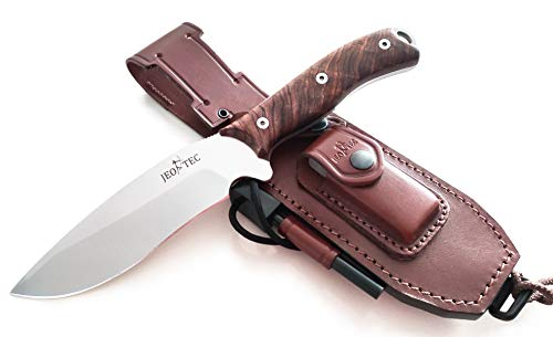 JEO-TEC Nº9 Bushcraft Survival Hunting Camping Knife, MOVA Stainless Steel, Multi-positioned Leather Sheath - Handmade (Cocobolo)