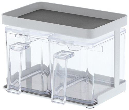 Yamazaki Home Pantry Canisters with RackKitchen Container Storage Organizer Small White