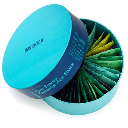 DAVIDsTEA Fan Faves Sachet Tea Wheel Tea Assortment Box, Tea Gift Set, Ready-to-Steep, No Filters Needed, 36 sachets, 3.2 Ounces