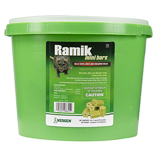 Neogen Ramik Fish Flavored Weather Resistant Rodenticide Mini Bars, 4 lb. Pail