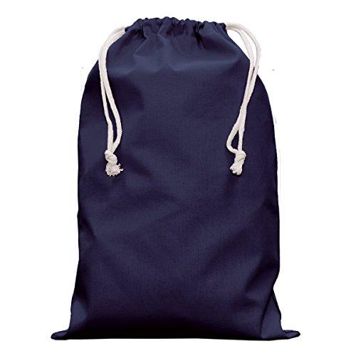Textildruck Plauen Stoffbeutel Kleidersacke Zugbeutel Wäschesack Zuziehbeutel mit Kordelzug 30x45cm Viele Farben (Navy, 5)