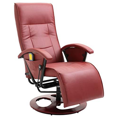 Festnight Elektrischer Massagesessel Relaxsessel Fernsehsessel mit Fernbedienung und Verstellbare Rückenlehne Weinrot Kunstleder