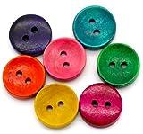 50 Stück Holzknöpfe 15mm bunt rund farbige Knöpfe - 2-Loch - im farbigen Mix Bastelknöpfe Knöpfe aus Holz scrapbooking Jackenknöpfe für Kinderkleidung zu annähen nähen Zweilochknöpfe