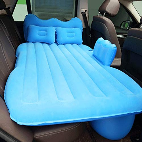 CHENC Coche colchón de aire inflable del recorrido del asiento trasero del amortiguador de aire Cama con bomba automática y dos almohadas, Vacaciones de la portátil resto sleeping almohadilla encaja u