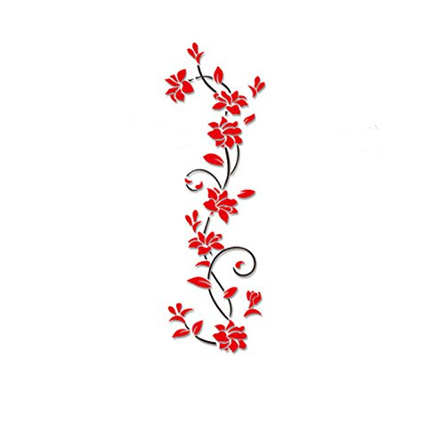 Subfamily DIY Vase Arbre Fleur En Cristal Acrylique 3D Stickers Muraux Decal Décor À La Maison Sticker Décorations Stickers Décalques Décor Amovible stickers muraux (Rouge)