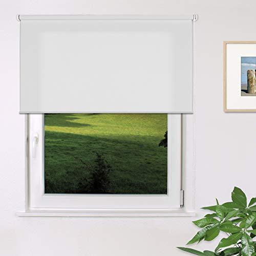 Fensterdecor Fertig Sichtschutz-Rollo, Tageslicht-Rollo mit praktischem Seitenzug für stufenloses Verstellen, Blickschutz-Rollo in Weiß, lichtdurchlässig und Blickdicht, 140 x 180 cm