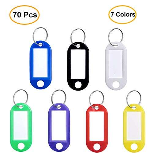 70 pcs Key Tags with Ring 7 Colo...