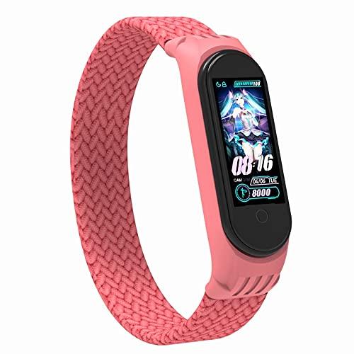 Correa transpirable  Para mi banda MI 6 3 4 5 Smart Watch pulsera de pulsera de reemplazo (Color : 04 Fresh powder, Size : L(175 200mm))