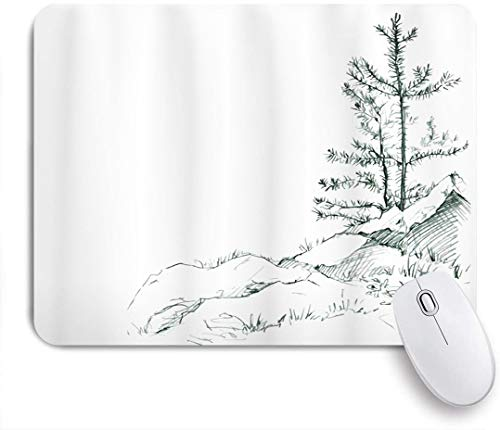 Dekoratives Gaming-Mauspad,Apartment Junge dünne Kiefern auf den Felsen Ökologie Forest Park Habitat Landscape Sketch Print,Bürocomputer-Mausmatte mit rutschfester Gummibasis