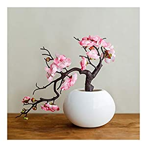 NYKK Decoration Artificial Flower Plum Blossom Study Room Bonsai Ornaments Fake Flowers Chinese Style Living Room Ornaments Artificial Potted Plants Artificial Flowers Table Centrepieces