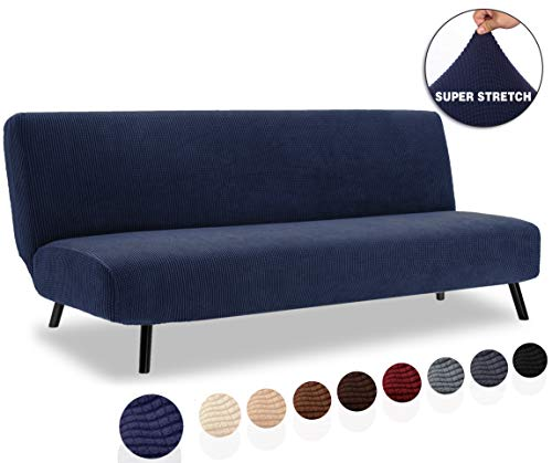 TIANSHU Funda elástica para sofá Cama sin reposabrazos,Tejido Jacquard de poliéster y Extensible Fundas de Clic clac 3 Plazas(Clic clac,Azul Oscuro)