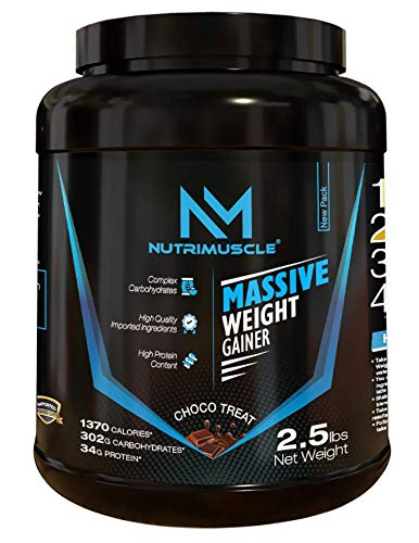 NUTRIMUSCLE MASSIVE WEIGHT GAINER - 2.5 LBS - 1.134 KGS - CHOCO TREAT FLAVOUR - FOR WEIGHT GAIN - MADE IN INDIA