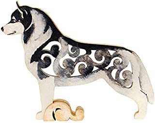 White with black Husky figurine, dog statue made of wood (MDF), statuette hand-painted