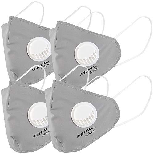 PEARL Masken: 4er-Set Mund-Nasen-Stoffmasken mit Ventil, waschbar, Größe M (Nanomasken)