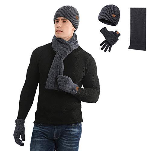 Gorro de invierno para hombre con cuello y pantalla táctil, 3 piezas con forro polar y gorro de punto para mujer, Azul Oscuro, Large