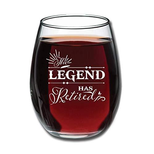 O5KFD&8 Good Touch Die Legende ist in den Ruhestand gehangen Weinglaswaren Premium Gravur - Clear Festgeschenke White 350 ml