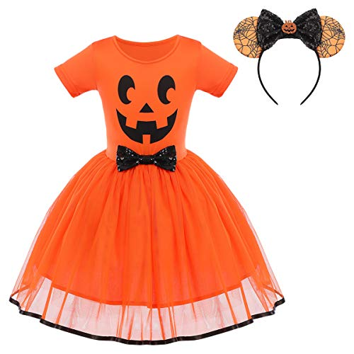Toddler Kids Baby Girls Pumpkin Dress Halloween Christmas Fancy Dress up Costume Princess Pageant Birthday Party Tutu Tulle Skirt with Spider Bow Headband Outfit Set Orange + Black Pumpkin 5T
