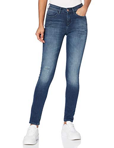 Wrangler Damen Skinny Jeans HIGH RISE SKINNY, Blau (Subtle Blue 86N), W30/L30