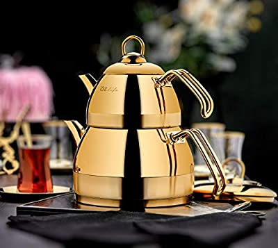 Stainless Steel Teapot Set Turkish Double Tea Pot Kettle Stovetop Warmer Tea Maker Water Heater Stainless Steel Titanium Plated Scratch Proof Dishwasher Safe GOLD Colored