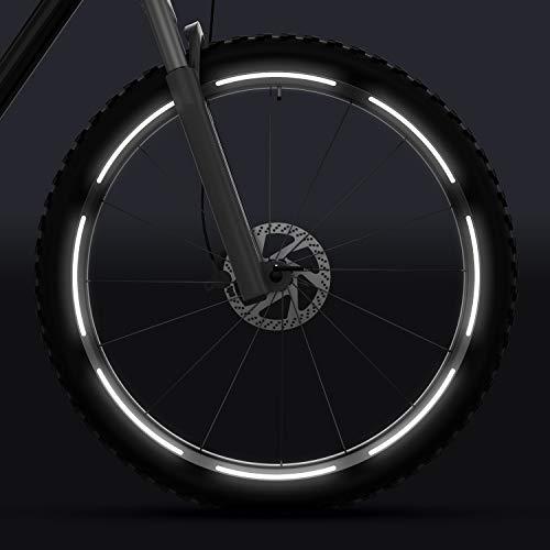 velota 3M Fahrrad Reflektoren für 26, 28 und 29 Zoll Felgen [Weiss] - Selbstklebende Reflektorstreifen - 16 reflektierende Streifen im Set