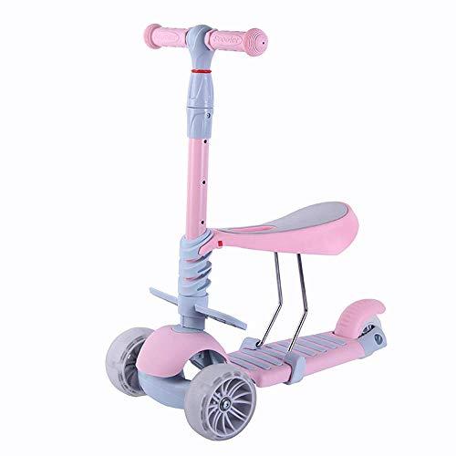 Kids Scooter Lichtgewicht Aluminium Gemakkelijk te dragen 3 Wielen Verwijderbare Verstelbare Stoel Voor 2-6 Jaar Oude Ondersteuning 50 kg Roze
