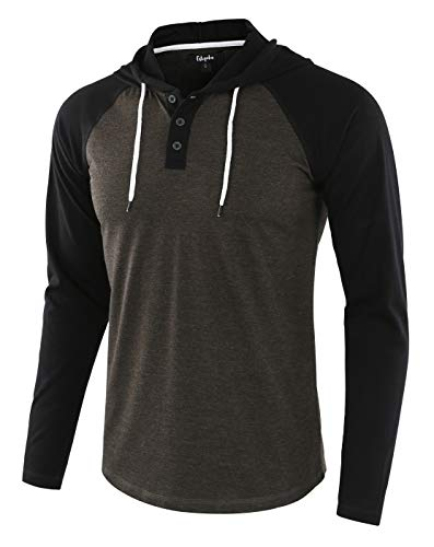 Estepoba Mens Casual Athletic Fit Lightweight Active Sports Jersey shirt Hoodie H.Charcoal/Black M