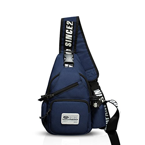 FANDARE Mode Sling Bag Rucksack Umhängetasche Brusttasche Messenger Bag Schultertasche Hiking Bag Daypack Crossbody Bag Chest Pack Sports Reisetasche Wasserdicht Polyester Navy Blau