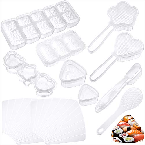 11 Pieces Japanese Sushi Mold Sushi Onigiri Rice Mold DIY Tool Sushi Plastic Mold Form Maker for Beginners Home Sushi Making Kit Different Shapes