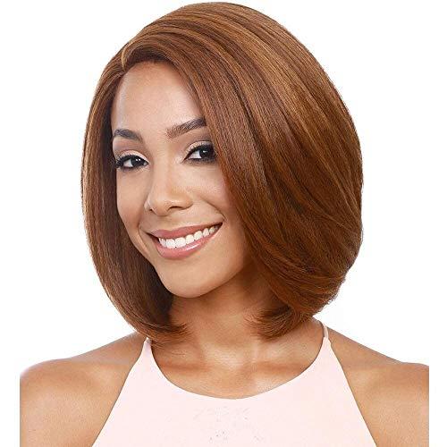 Haut Centre Simulation Cuir Chevelu Marron Clair Coiffure Point Partiel Court Paragraphe Cheveux Raides Bobo Head Perruques