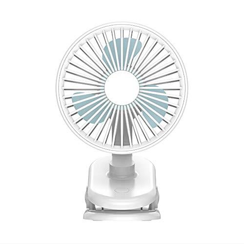 Bcamelys Klein clip-ventilator, USB, stil met 3 bladen, tafelventilator met 90 graden rotatie, 360 graden draaibaar, afneembare netafdekking, draagbaar, voor slaapkamer, kantoor, auto, kinderwagen, zwart 201 * 128 * 125 mm wit
