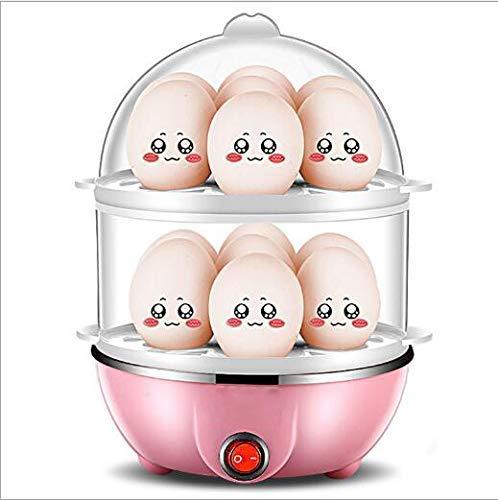 SuRose Eierkocher Egg Cooker Mini Multifunktional Doppelschicht Eierkocher Haushalt Klein Frühstücksautomat,Pink