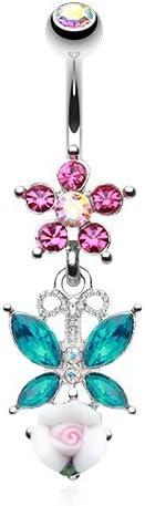 WildKlass Jewelry Glamorous Butterfly Flower Garden Belly Button Ring