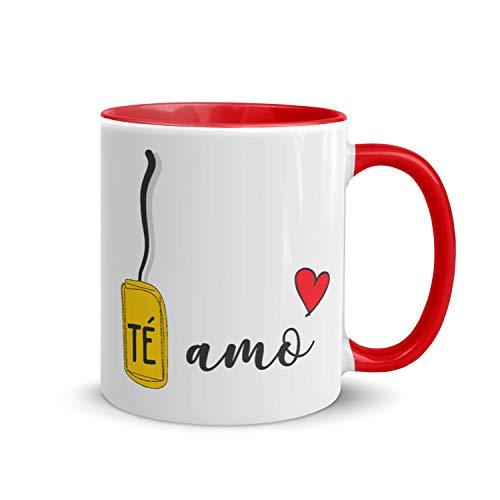 Kembilove Tazas de Desayuno para Parejas – Taza de Café Rojas con Mensaje Te Amo – Regalos Originales para Regalar en San Valentín, Cumpleaños – Tazas de 350 ml